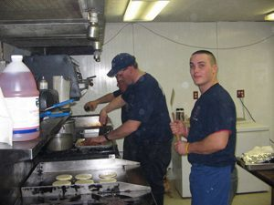 Fire Department team cooking food